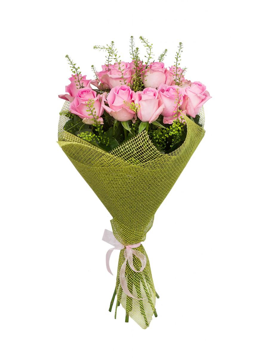 Магазин, оформление букета флористической сеткой