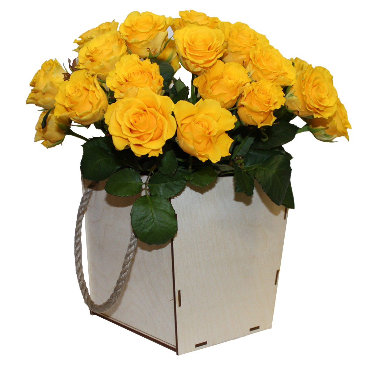 Кашпо с 25 розами.